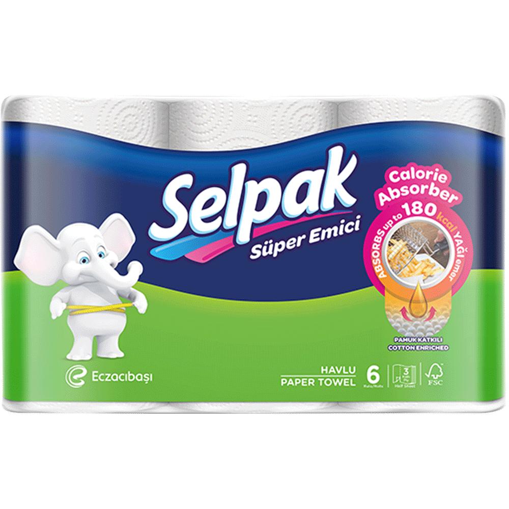 Рушники кухонні Selpak Calorie 3-шарові, 6 шт.- Фото - Biosphere