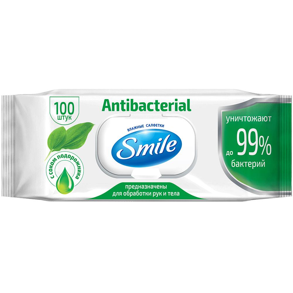Вологі серветки Smile Antibacterial з соком подорожника 100 шт.- Фото - Biosphere