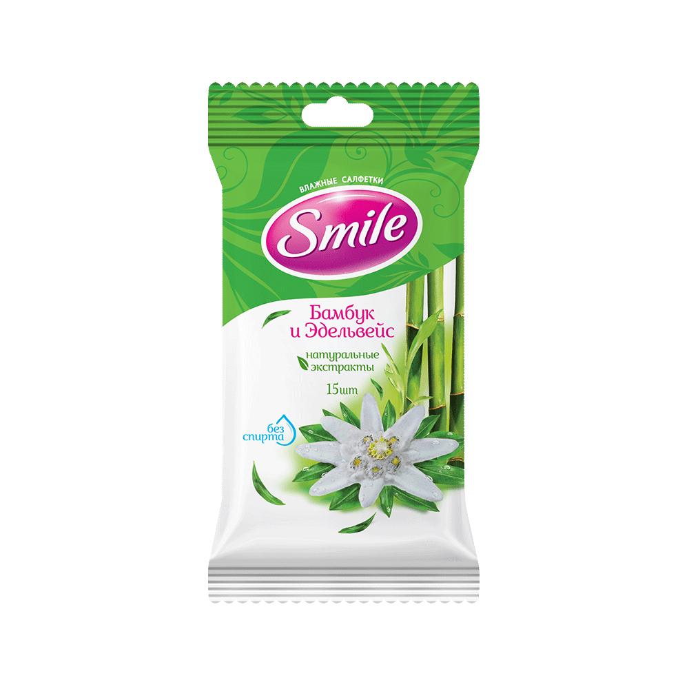Smile Daily Влажные салфетки Бамбук и эдельвейс, 15 шт.- Фото - Biosphere