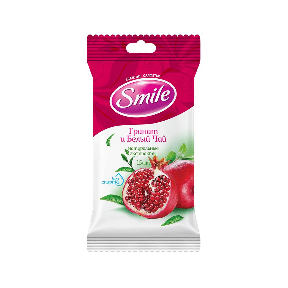 Вологі серветки Smile Daily Гранат та білий чай, 15 шт.- Фото - Biosphere