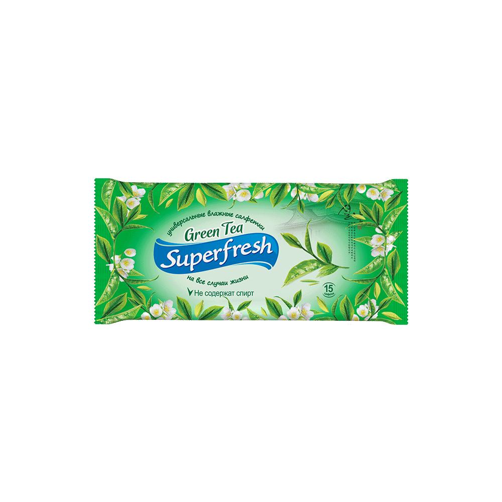 Superfresh  Green tea wet wipes, 15 pcs.- Фото 2 - Biosphere