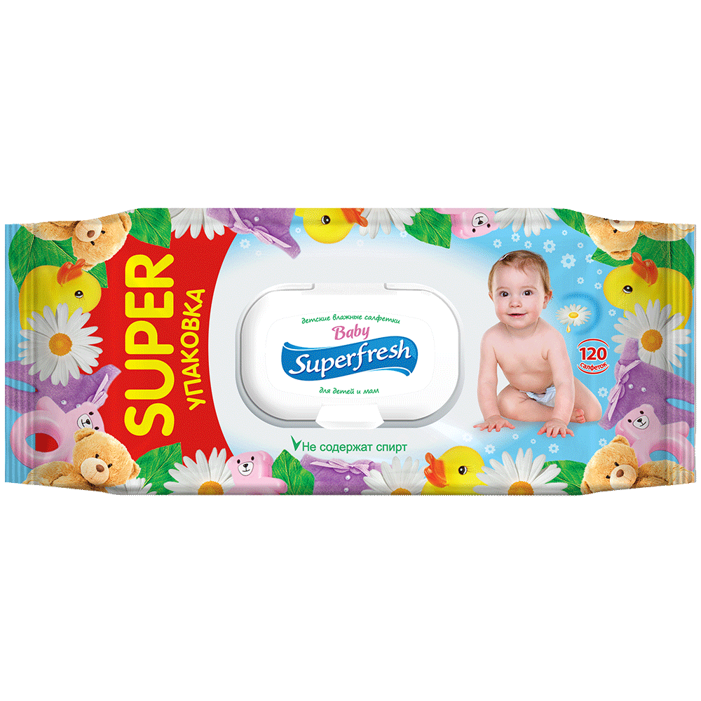 Superfresh Baby wet wipes, 120 pcs.- Фото 1 - Biosphere