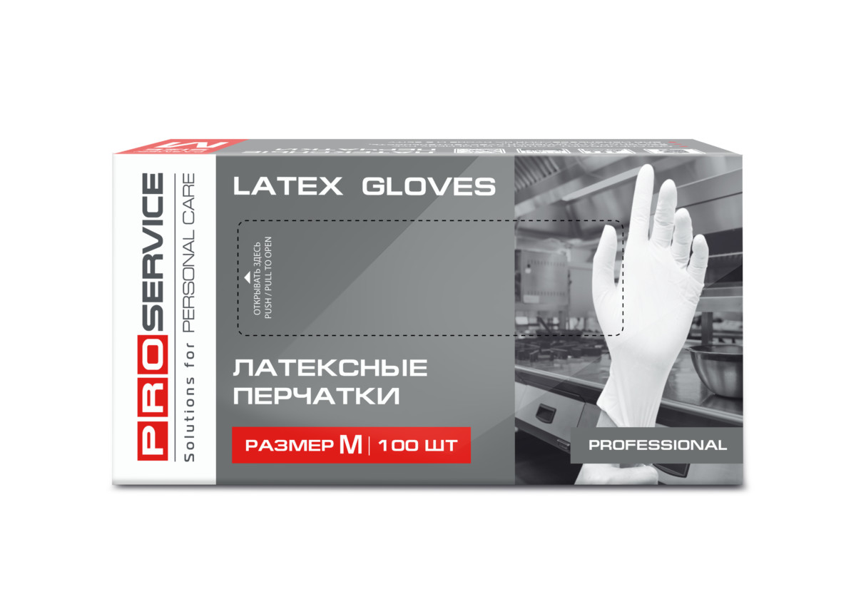PRO service Professional latex gloves, M- Фото 6 - Biosphere