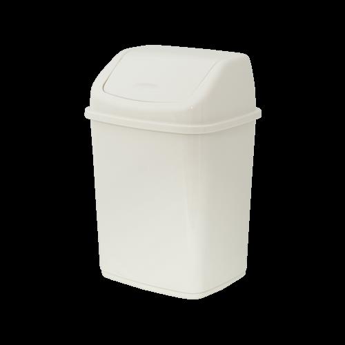 Відро для сміття з кришкою кремове, 10л- Фото - Biosphere