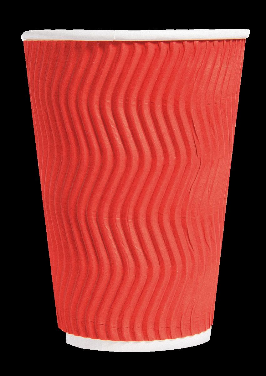 Стакан паперовий PRO service Riple черв, 400мл- Фото - Biosphere