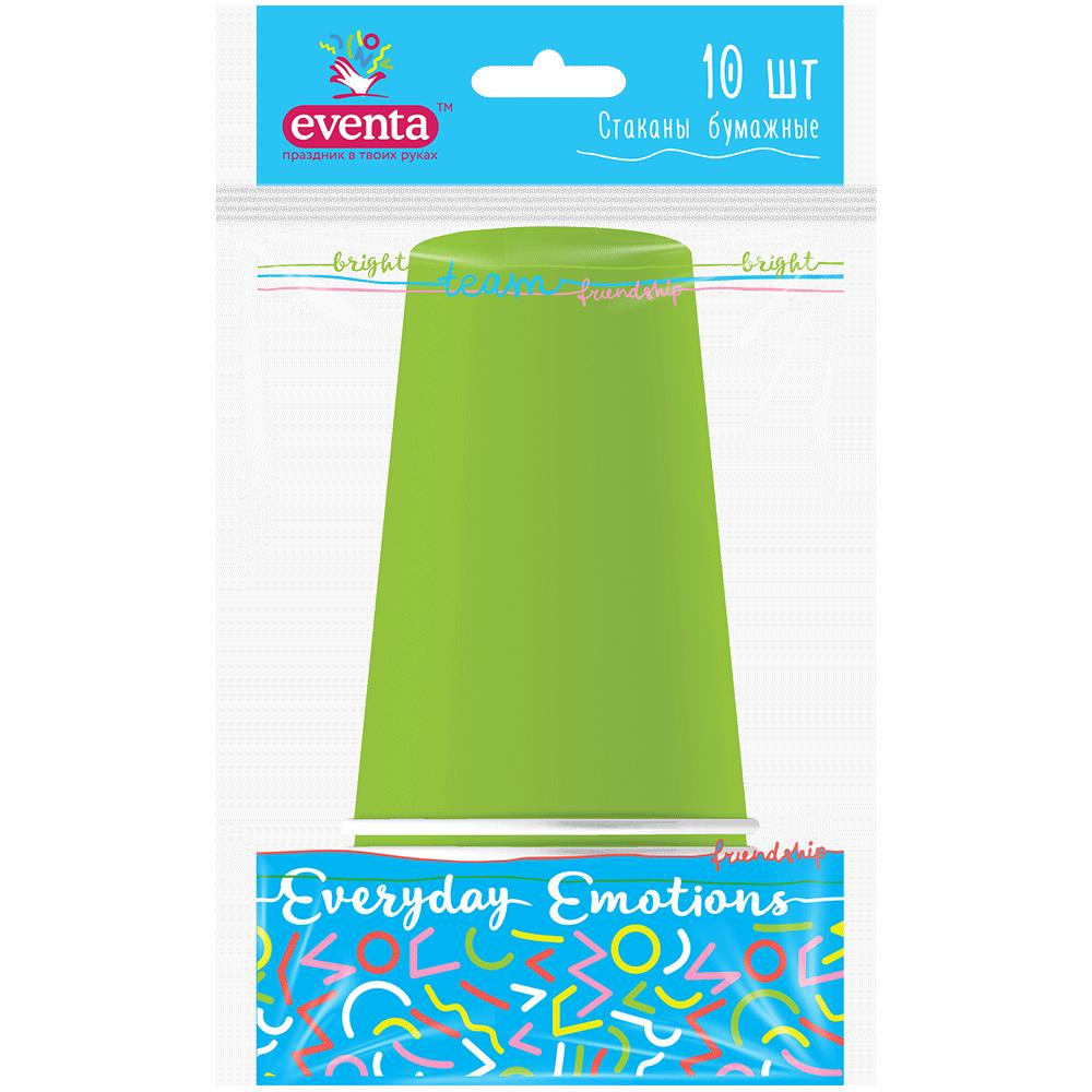 Стакани паперові однокольорові зелені Eventa- Фото 1 - Biosphere