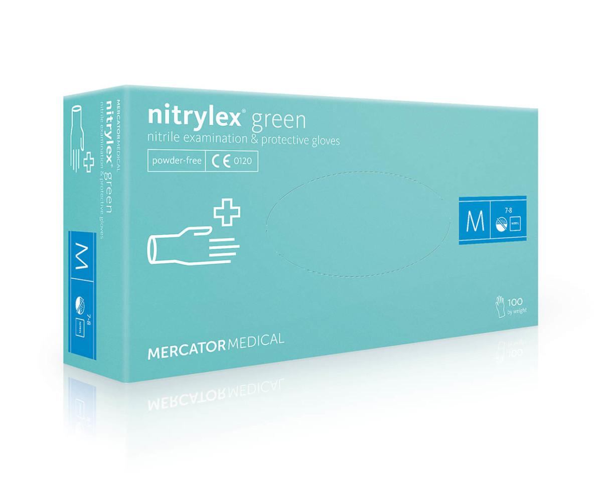 Рукавички нітрилові Mercator Medical Nitrylex Green м'ятні, 100шт, M- Фото - Biosphere