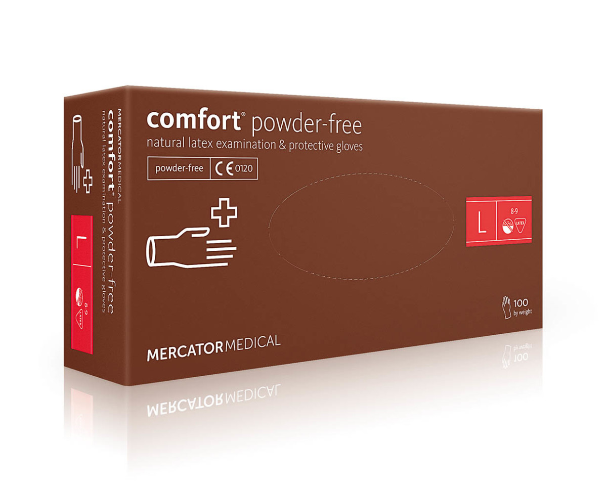 Рукавички латексні Mercator Medical Comfort Powdered-Free, 100шт, L- Фото - Biosphere