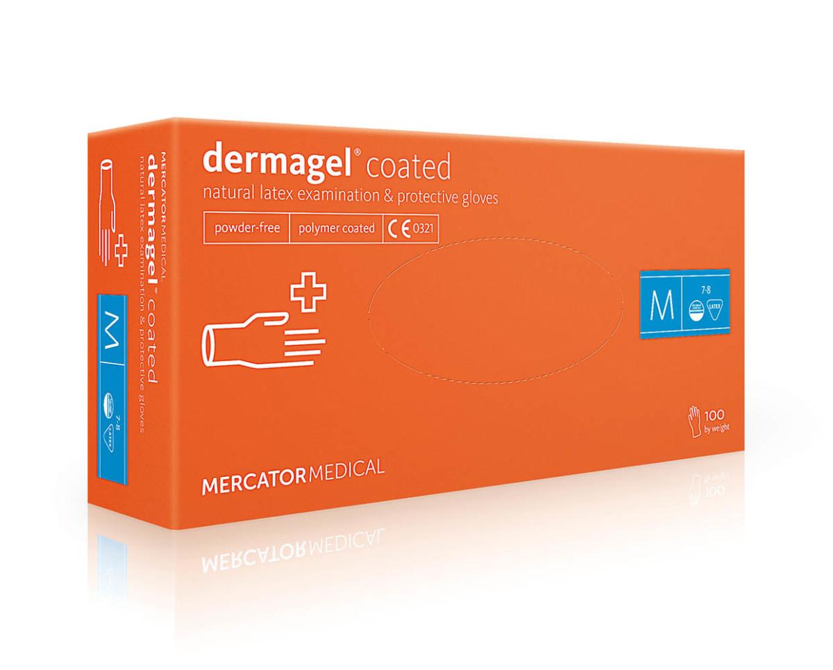Рукавички латексні Mercator Medical Dermagel Coated, 100шт, M- Фото - Biosphere