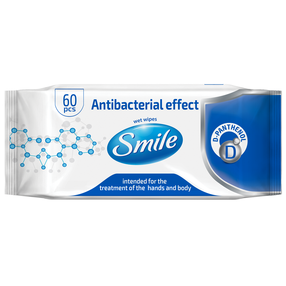 Smile Antibacterial Wet Wipes D-Panthenol 60 pcs.- Фото - Biosphere