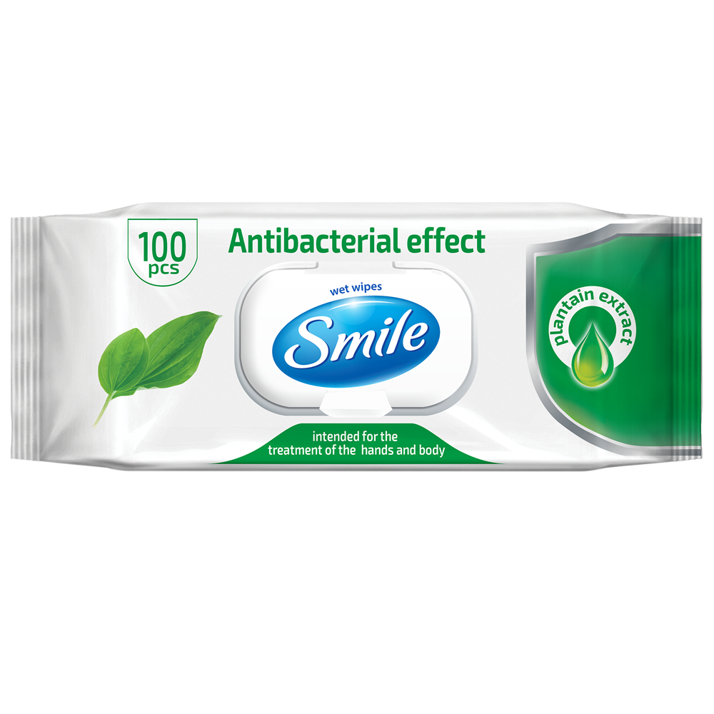 Smile Antibacterial wet wipes enriched with plantain extract 100pcs.- Фото 4 - Biosphere