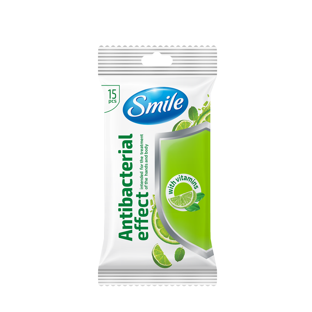 Smile Antibacterial wet wipes enriched with vitamins 15 pcs.- Фото 2 - Biosphere