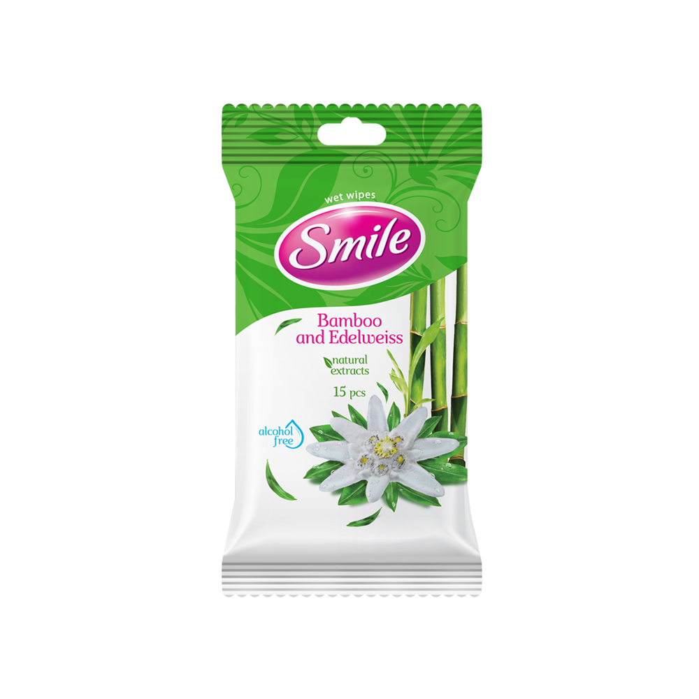 Smile Daily Bamboo & Edelweiss wet wipes 15pcs.- Фото - Biosphere