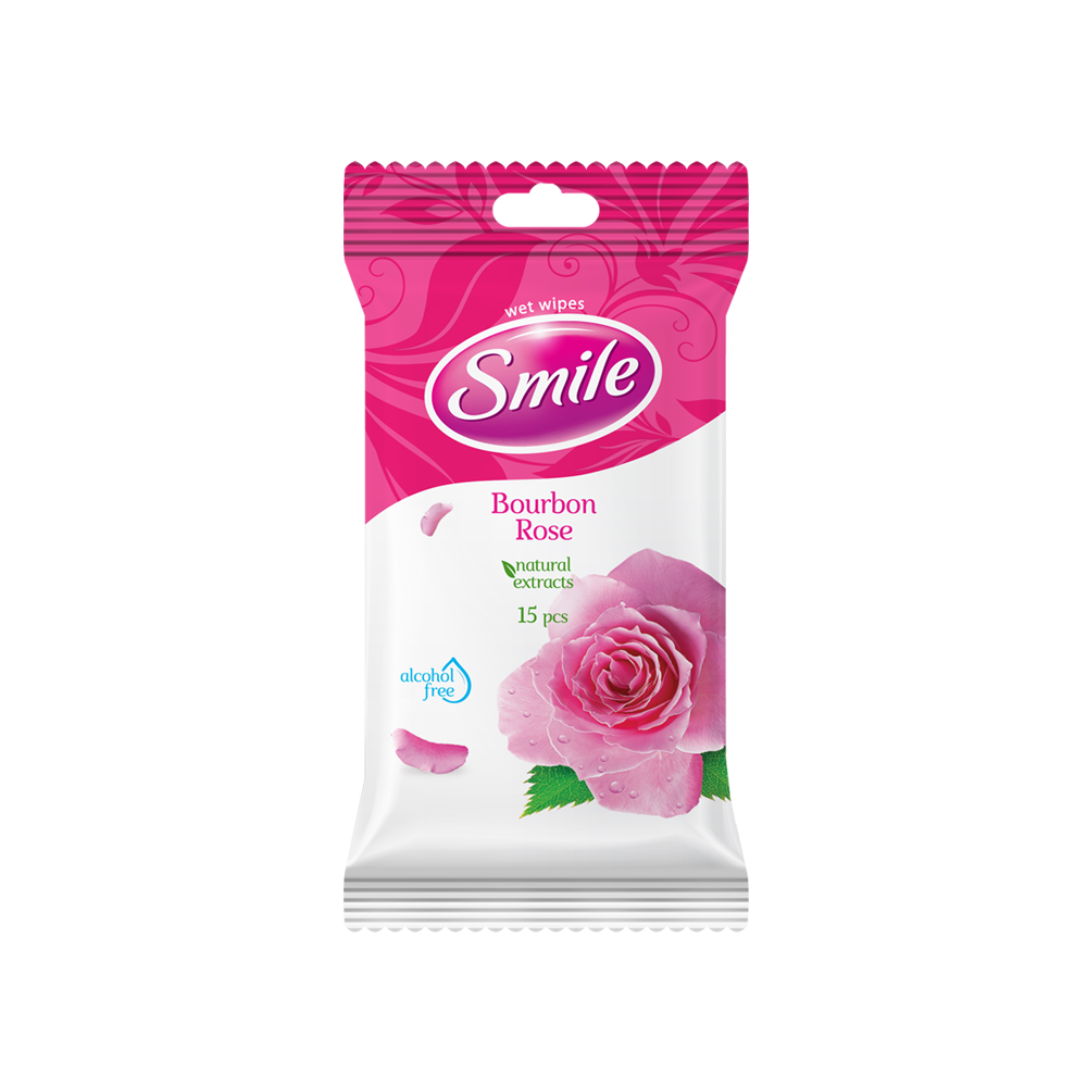 .Smile Daily Bourbon Rose wet wipes 15pcs- Фото - Biosphere
