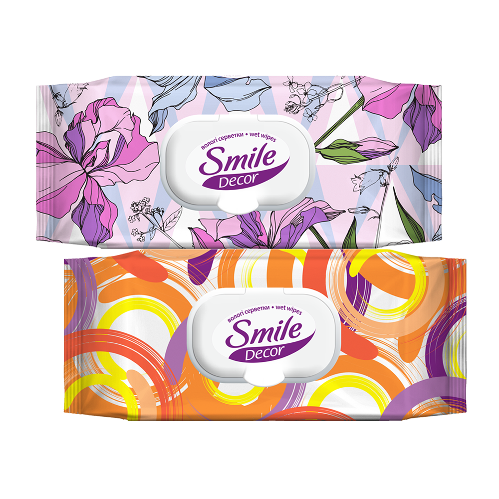 Smile Décor Circles and Flowers wet wipes 60pcs.- Фото 5 - Biosphere