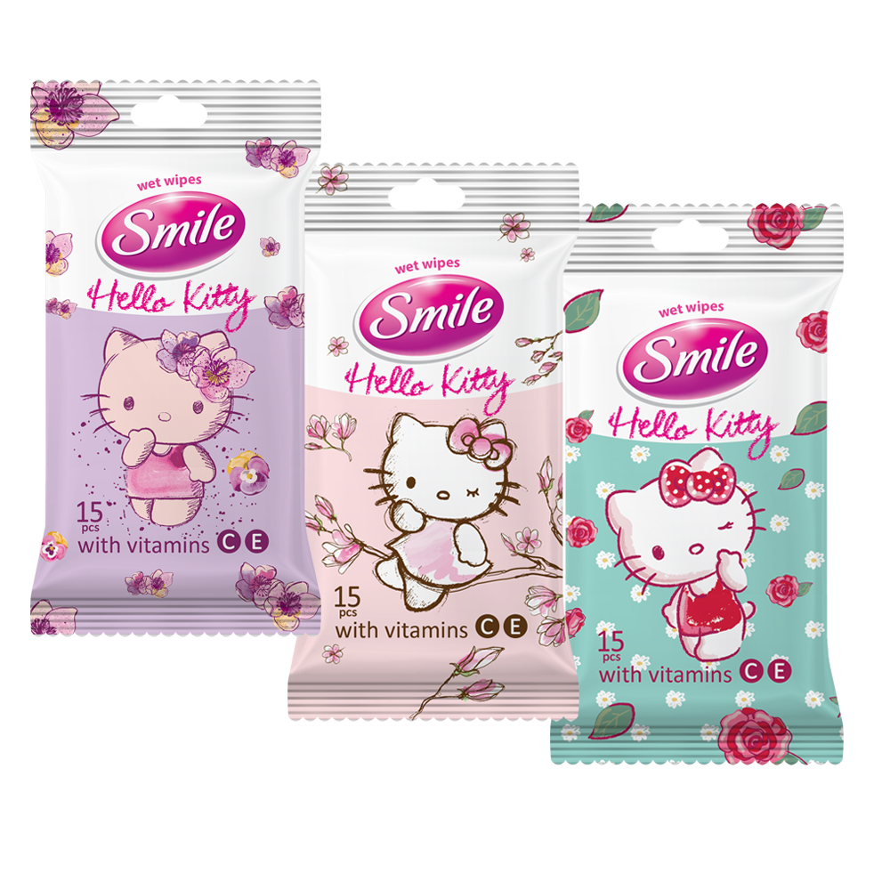 Wet wipes Smile Hello Kitty with vitamins 15pcs.- Фото - Biosphere