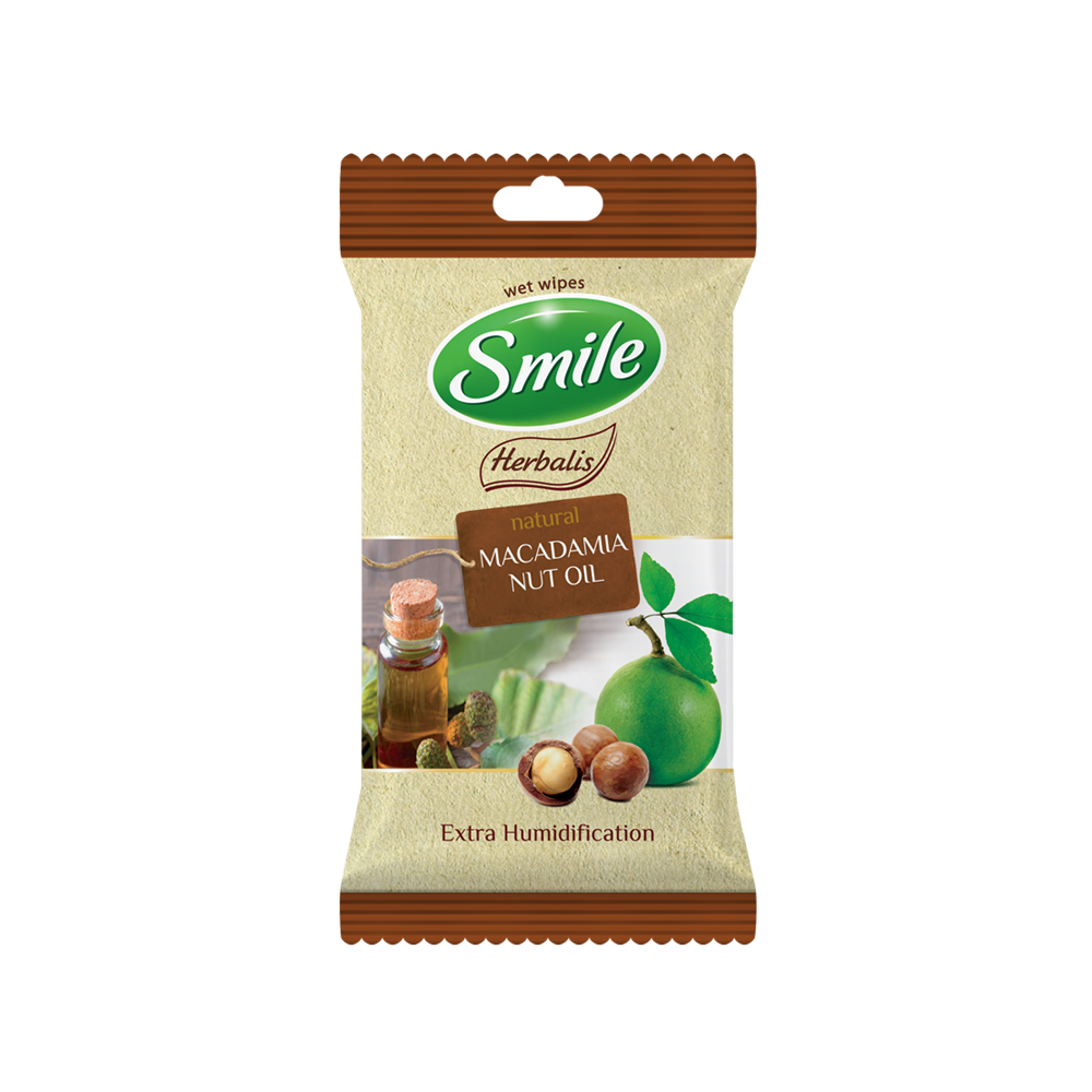 Smile Herbalis wet wipes enriched with macadamia nut oil 10pcs.- Фото - Biosphere