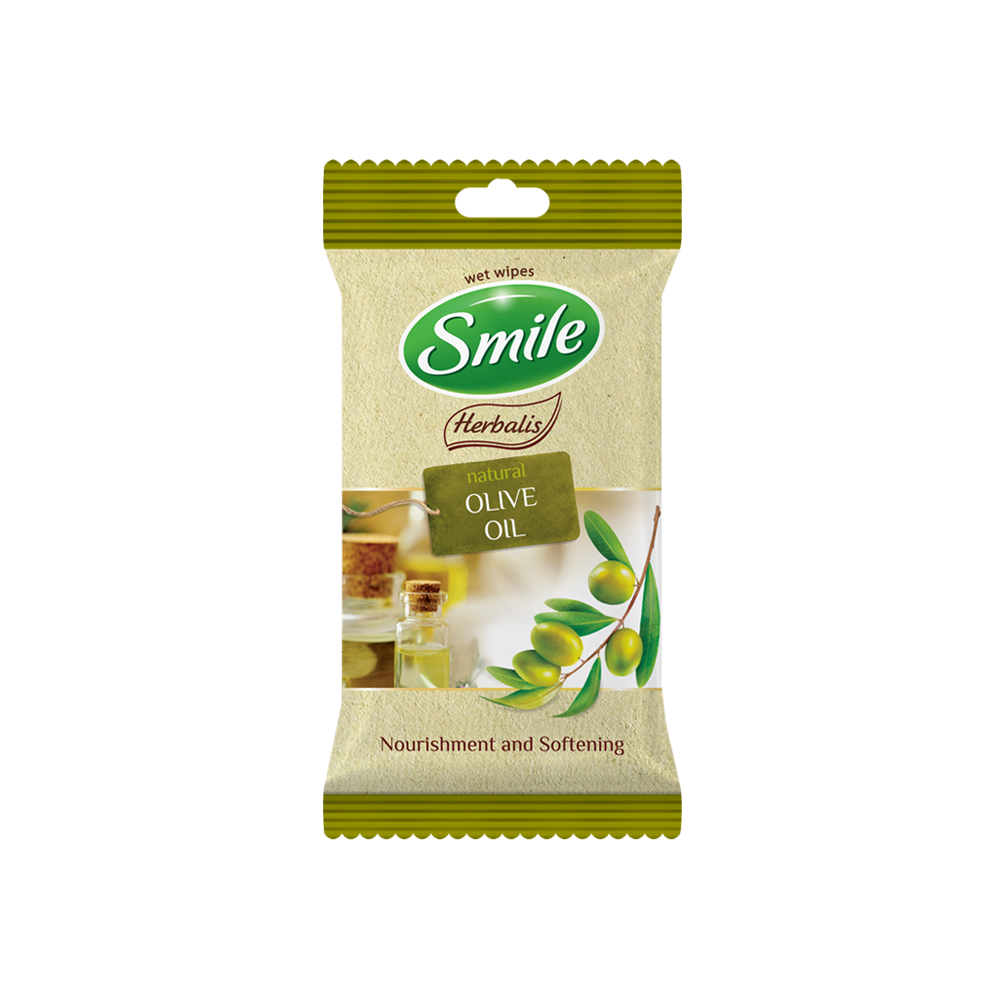 Smile Herbalis wet wipes enriched with olive oil 10pcs.- Фото - Biosphere