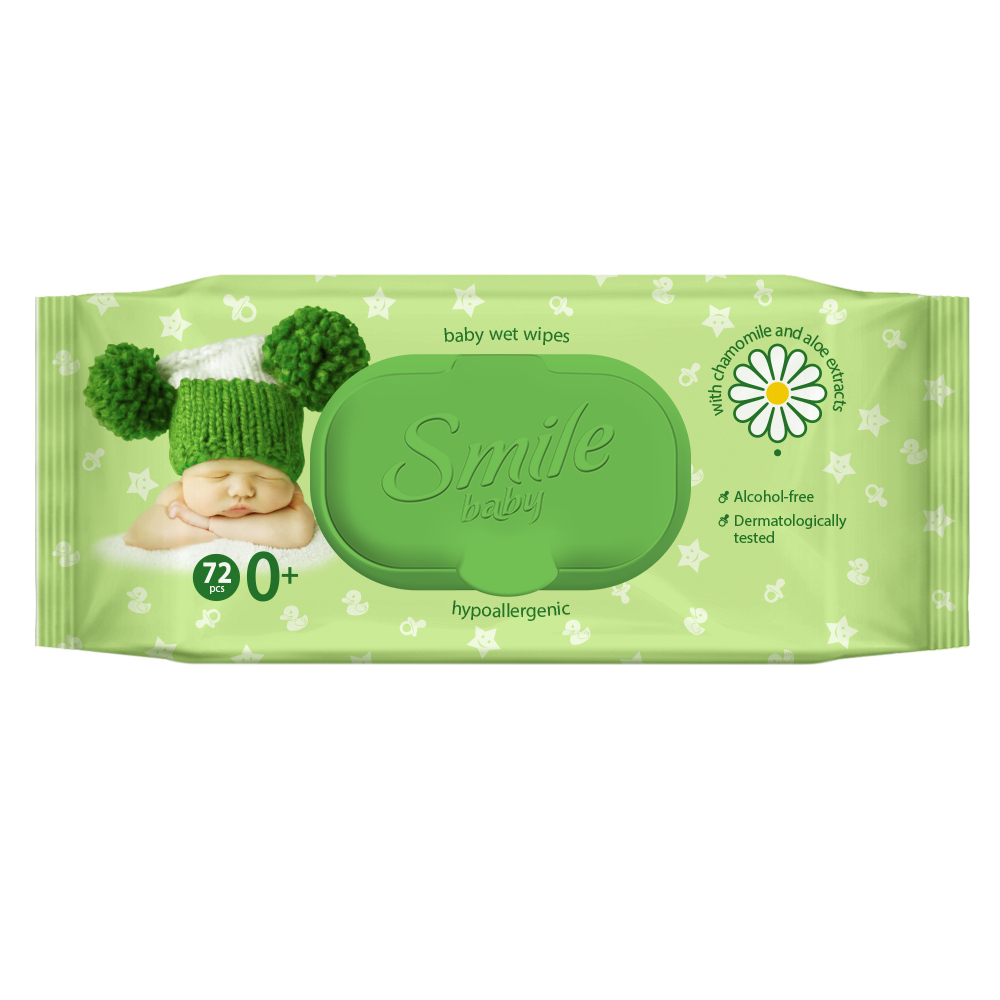 Smile baby wet wipes for newborns with chamomile and Aloe extracts 72pcs.- Фото 5 - Biosphere