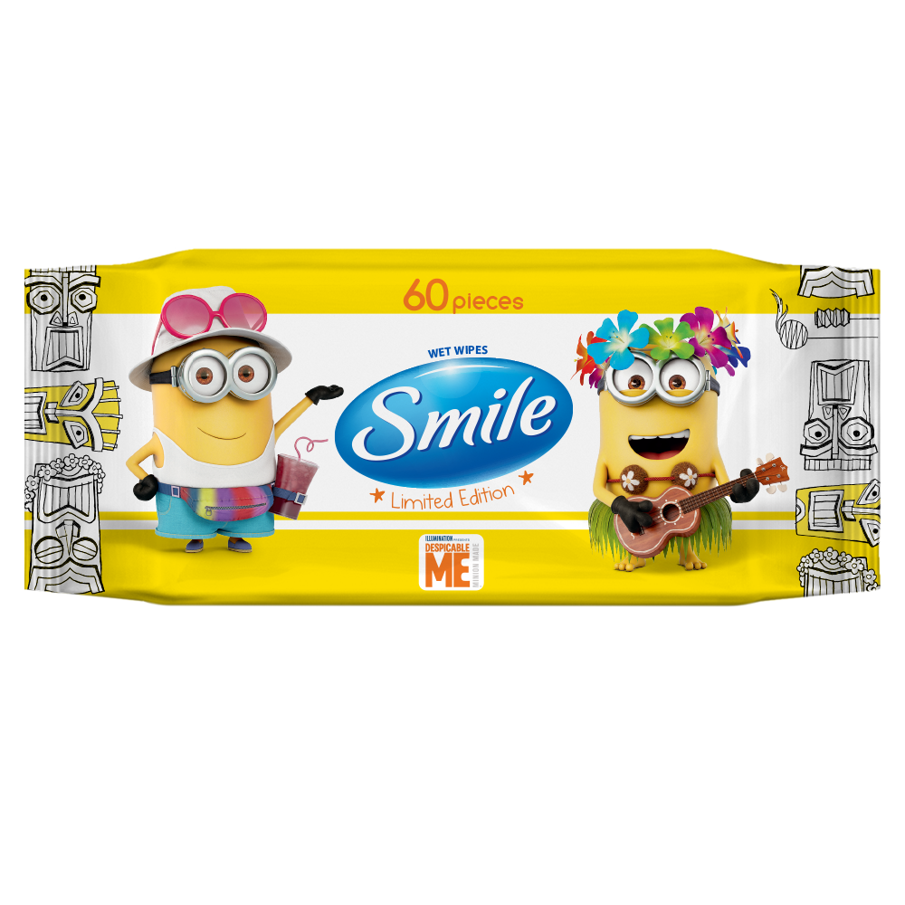 Smile Minions wet wipes enriched with vitamins 60pcs.- Фото - Biosphere