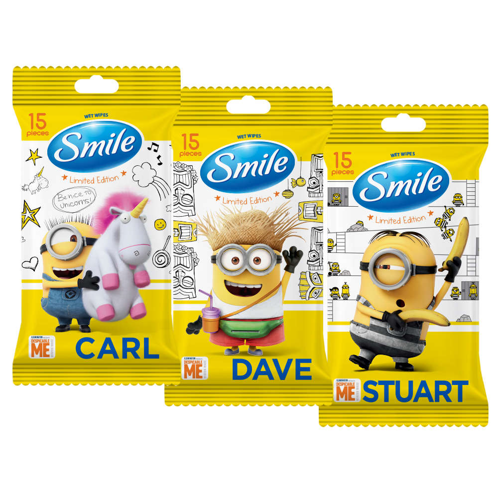 Smile Minions wet wipes enriched with vitamins 15pcs.- Фото - Biosphere