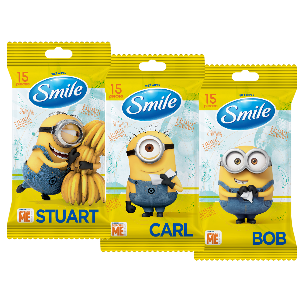 Smile Minions 'MIX' wet wipes 15pcs.- Фото - Biosphere