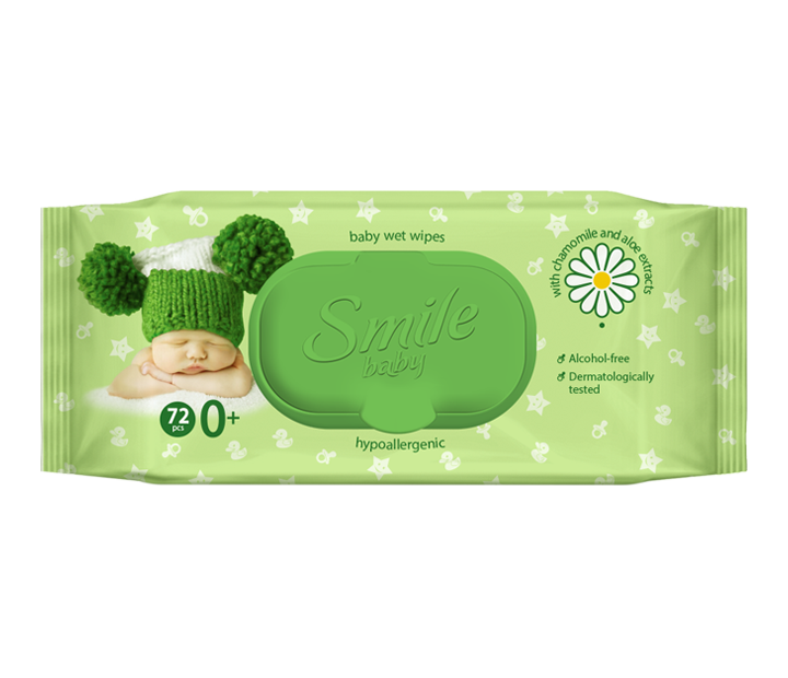 Smile baby wet wipes for newborns with chamomile and Aloe extracts 72pcs.- Фото 6 - Biosphere