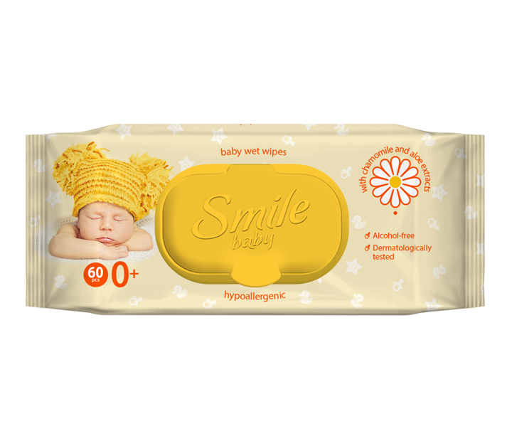 Smile baby wet wipes for newborns with chamomile and Aloe extracts 60pcs.- Фото 3 - Biosphere