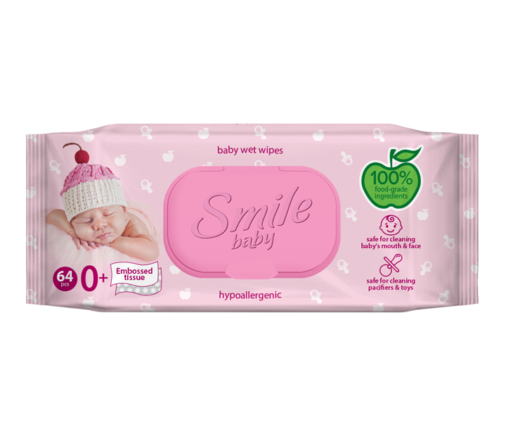 Smile baby wet wipes for newborns with food ingredients 64pcs.- Фото 5 - Biosphere