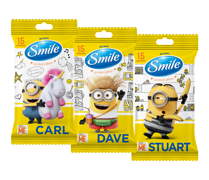 Smile Minions wet wipes enriched with vitamins 15pcs.- Фото 1 - Biosphere