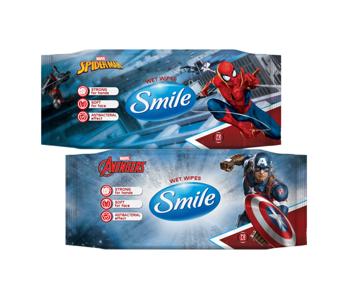Smile Antibacterial Marvel Wet Wipes, 72 pcs- Фото 1 - Biosphere